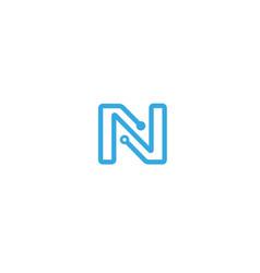 creative n letter network logo symbol design vecto vector image