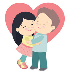 Cute little girl and boy hugging valentines day vector