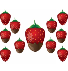 Delicious chocolate-dipped strawberry vector