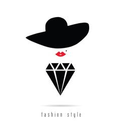 Diamond girl icon fashion style vector