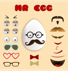easter egg constructor face with mustache and vector image