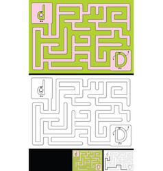 Easy alphabet maze - letter d vector