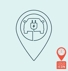 electric car with map pin icon vector image