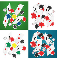 Falling realistic casino cards chips and aces vector