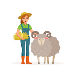 Farmer - woman with a sheep smiling with hay vector