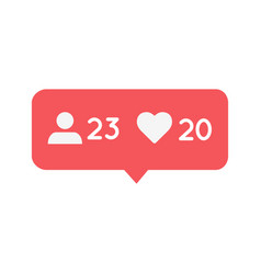 Follower and like notification button icon social vector