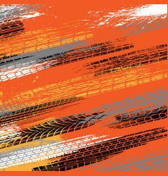 Four color tire track grunge background vector