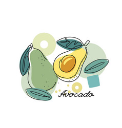 Fresh avocado on color abstract background vector