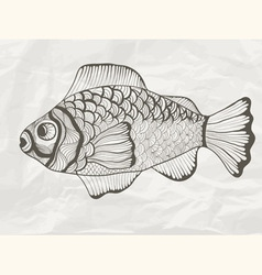 funky fish on crumpled paper texture vector image