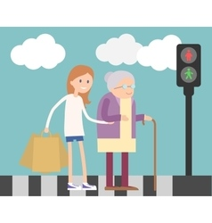 Girl helping old woman vector