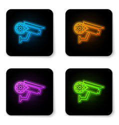 glowing neon security camera and gear icon vector image