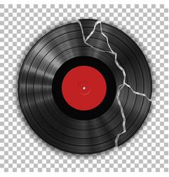 gramophone broken vinyl lp record template vector image