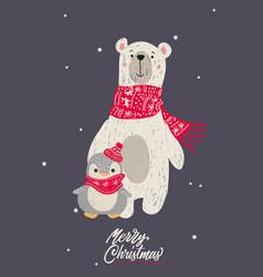 hand drawn of polar bear for m vector image