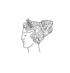 Hand drawn woman with greek profile and laurel vector