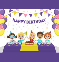 Happy birthday banner template cute boys and vector