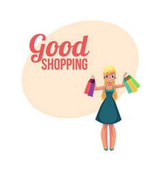 Happy blond girl woman holding shopping bags vector