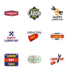 happy labor day logo set flat style vector image