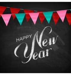 Happy New Year Lettering Chalk Composition vector image