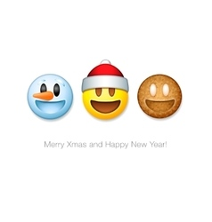 Holiday emoticon set icons Christmas emoji symbol vector image