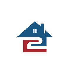 Home with 2 logo icon vector