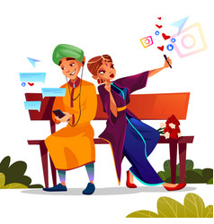 Indian couple dating with smartphones vector