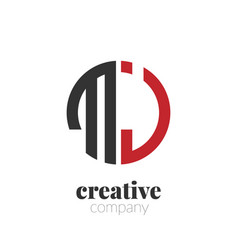 initial letter mj creative elegant circle logo vector image
