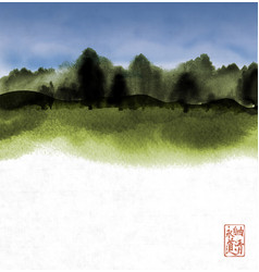 ink wash painting with green forest and cloudy sky vector image