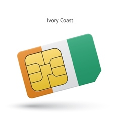 Ivory Coast mobile phone sim card with flag vector