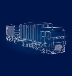 Large truck with separate trailer for vector