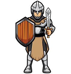 Medieval soldier on white vector