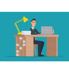 Office worker man behind a desktop creative color vector