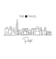 One continuous line drawing porto city skyline vector
