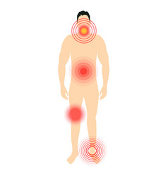 Pain target hurt red circle pain marker on vector