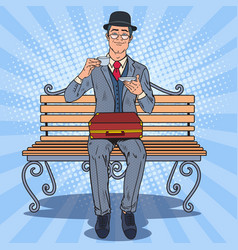 pop art englishman drinking tea on the bench vector image