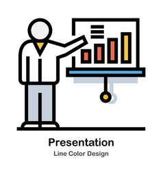 Presentation line color icon vector