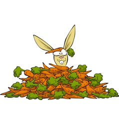 rabbit in a pile of carrots vector image