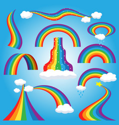 Rainbow colorful bowed arc in raining sky vector