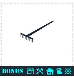 Rake icon flat vector image