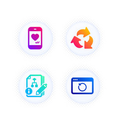 Recycle algorithm and love chat icons set vector