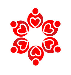 red heart teamwork people group vector image