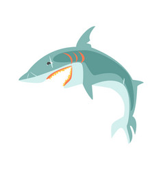 reef shark showing the mouth and teeth cartoon vector image