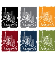 san francisco skyline sticker set vector image