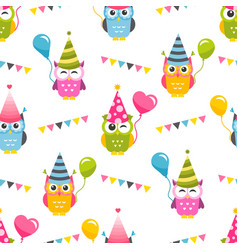 seamless pattern with owls with birthday party vector image