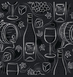 Seamless patterns with white wine set cask vector