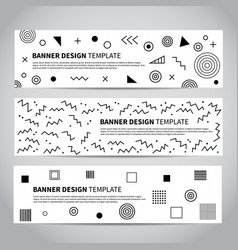 Set of abstract memphis style retro banners vector