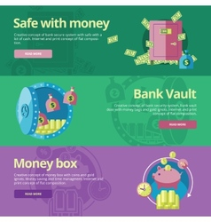 Set of flat design concepts for safe and money vector image vector image