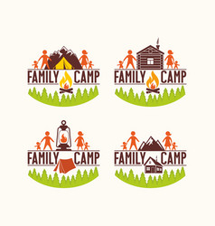 Set of logos of the family camp vector