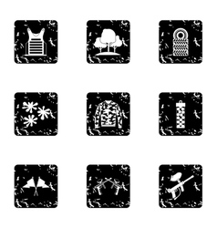 Shooting paintball icons set grunge style vector image