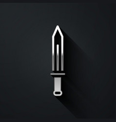 Silver medieval sword icon isolated on black vector