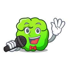 Singing shrub mascot cartoon style vector